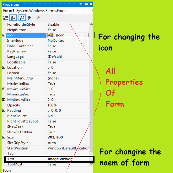 form properties