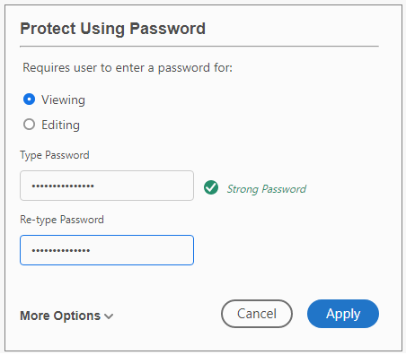 how to set password in pdf file