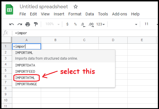 formula of showing data to google sheet